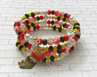 Queen of Hearts Wraparound Bracelet Memory Wire Wrap Disney Alice in Wonderland Paint the Roses Red Crown Charm Off with their Heads