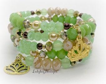 Tiana Infinity Wrap Bracelet Memory Wire Disney Princess and the Frog Fandom Crown Tiara Charm Glass Bead Wraparound Spiral Green Brown