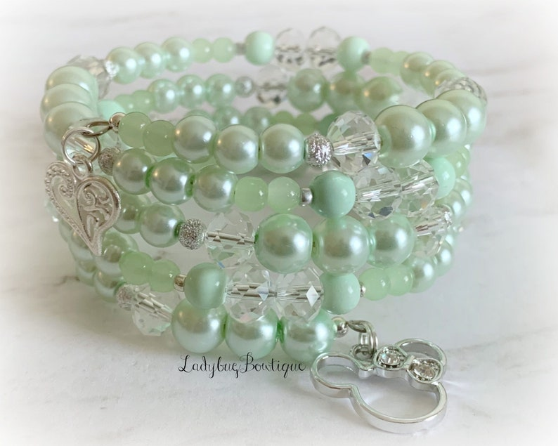 Mint Minnie Infinity Wrap Bracelet Memory Wire Disney Wedding image 0