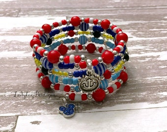 Disney Cruise-inspired Wrap Bracelet Memory Wire Girl or Adult ~ Mickey Mouse Nautical Red Blue White Silver Charm Dangle Bracelet Patriotic