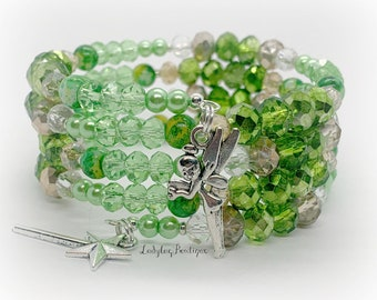 Tinkerbell Fairy Infinity Wrap Bracelet Memory Wire Disney Lime Green Wings Princess Peter Pan Magic Wand Star Charm Pixie Dust Neverland