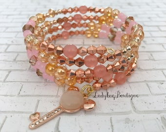 Millennial Pink Rose Gold Mickey Bracelet Wraparound Memory Wire Disney Princess Charm Stacking Minnie Mouse Key Ears Light Rose Rhinestone
