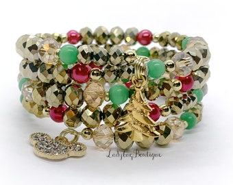 Golden Minnie Wrap Bracelet Christmas Infinity Memory Wire Disney Mickey Mouse Gold XMas Tree Holiday Charm Green Red Glass Stacking Beads