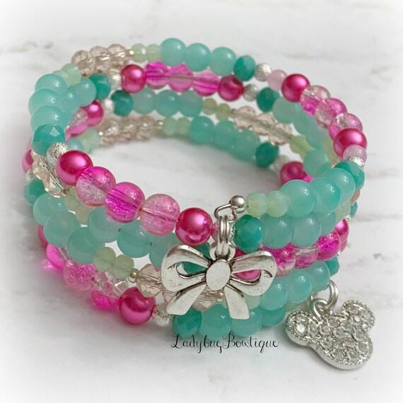 Mint and Pink Minnie Mouse Infinity Wrap Bracelet Memory Wire Disney Seafoam Green Mickey Ears Rhinestone Charm Jewelry Pale Green Glass