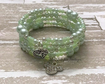 Minnie Mouse Wraparound Bracelet Memory Wire Girl Adult Disney Mickey Mouse Ears Character Rhinestone Charm Wrap Bracelet Mint Green Pearls