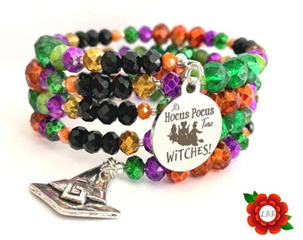 It's Hocus Pocus Time Glass Infinity Wrap Charm Bracelet Fall Halloween Witches Jewelry Witch Accessories Tonight We Fly Sanderson Sisters