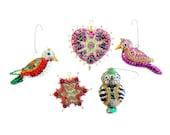 Kistchy Vintage Ornaments // Retro Handmade Sequin Decorations // Vintage Christmas Decor // Birds Owl Star Heart