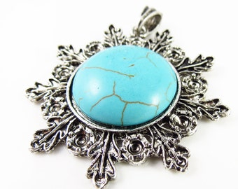 50mm Semi-Precious Turquoise Round Snowflake Style Pendant With Setting  - 1 Piece - LCTURQ-D05013-2104