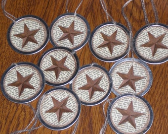 Set of 10 -  Folk Art Primitive Country Star Metal Rimmed Hang Tags Mini Tree Ornaments -- Tie Ons - Gift Tag - Scrapbooking - Ornies
