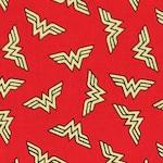 Wonder woman gold logo fabric by the yard