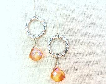Peachy pink aura quartz faceted hoop dangle earrings
