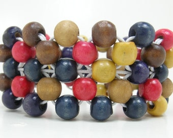 Beaded Bracelet, Wood Beaded Cuff, Gift for Her, RAW, Personalized Gift, Best Friend Gift, Colorful Jewelry