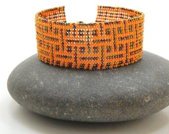 Pumpkin Labyrinth Beadwoven Cuff/Bracelet