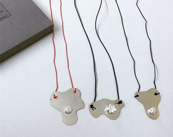 Sterling silver + limoge porcelain necklace