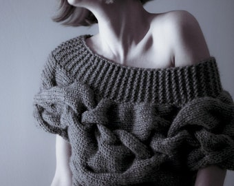 Custom Order Handmade Short Sleeves Sweater, Authentic pattern Hand Knitted Design, Made To Measure Knitwear Top