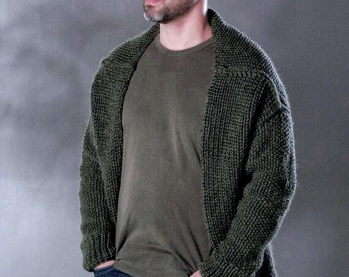 Custom Order Unique Hand knitted Cardigan For Men, Authentic design knitwear, made to measure Handmade winter Fashion Garment