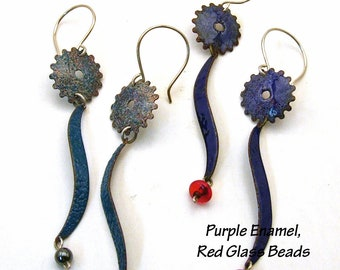 SALE - Copper Enamel Earrings - Steampunk Long Dangly SQUID GEAR Statement Earrings - Turquoise Blue Purple Red Glass Hematite Gems