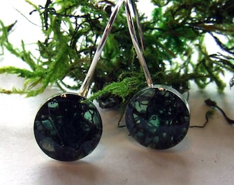 REINDEER MOSS Medium 10 mmm Round Stud or Dangy Earrings on Sterling Silver Posts or Wires - Resin Nature Jewelry Captured Collection