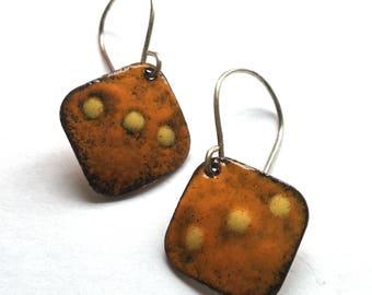 TRIBAL Earrings in Orange and Yellow - Diamond Shaped Copper Enamel Rustic Artisan Earrings on Handmade Sterling Silver Wires