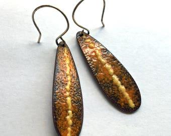 Autumn Teardrop Orange and Yellow Enamel Earrings - Rustic Copper Metal Artisan Jewelry on Handmade Sterling Earwires