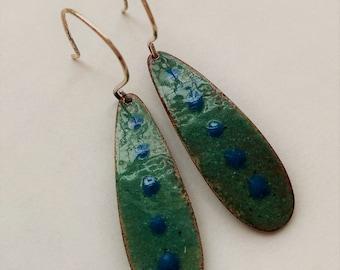 Enamel Teardrop Earrings in Aqua and Turquoise Blue on Sterling Silver Earrings, Handmade Copper Enamel Artisan Jewelry