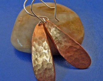 Hammered Copper Long Dangly Tear Drop Earrings with Hammer Texture on Sterling Silver Ear Wires - Artisan Jewelry