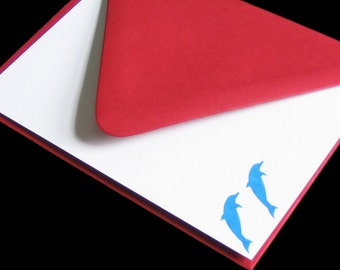 Five Dolphin Design Flat Note Cards