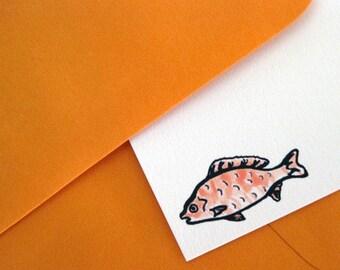 Five Flat Note Cards and Envelopes, Goldfish Design