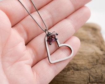 Charming Heart Necklace Handmade Sterling Silver Pendant with Swarovski Crystal Accents in Purple