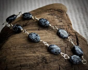 Snowflake Obsidian Bracelet in .925 Sterling Silver