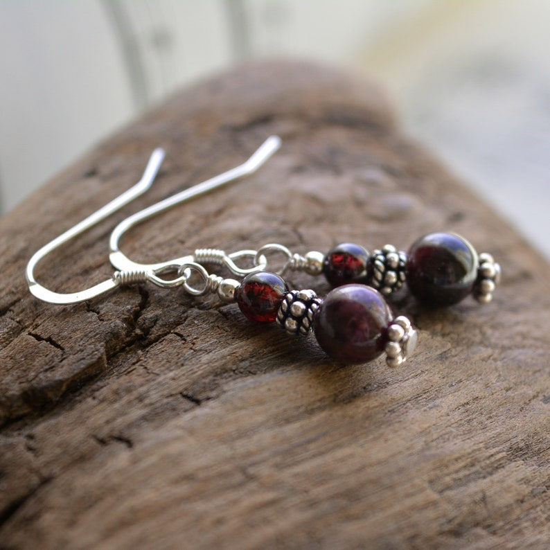 Garnet Earrings in .925 Sterling Silver image 0