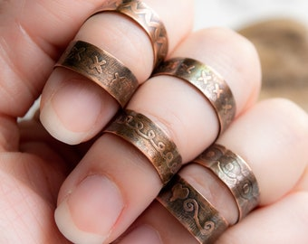 Etched Copper Adjustable Rings with Vintage Patina and Beautiful Unique Hand Drawn Patterns of Swirls and X's and O's
