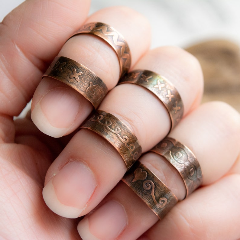 Etched Copper Adjustable Rings with Vintage Patina and image 0