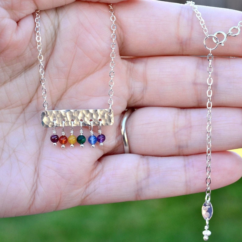 Rainbow Beaded Bar Necklace Sterling Silver LGBTQ Gay Pride image 0