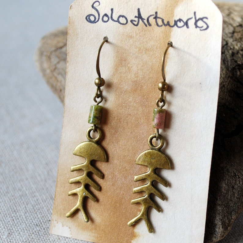 Antiqued Brass Fishbone Earrings with Unakite image 0