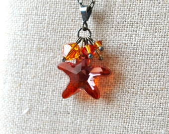 Orange Topaz Swarovski Starfish Charm Necklace
