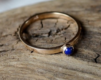 AA Lapis Lazuli and 14K Yellow Gold Ring Size 7 Natural Blue Lapis Lazuli Gemstone Cabochon Ring in Solid 14 Karat Gold with 2mm Wide Band