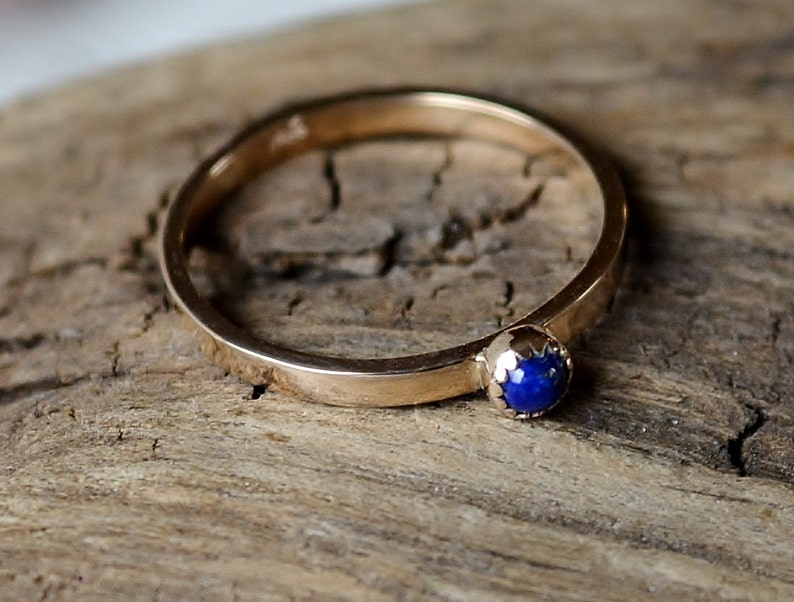 AA Lapis Lazuli and 14K Yellow Gold Ring Size 7 Natural Blue image 0