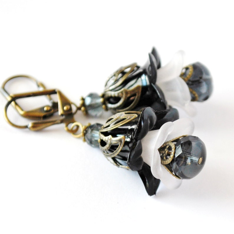 Charcoal Layered Flower Earrings image 0