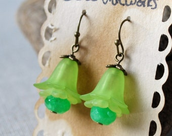 Green Flowers with Jade Dangle Earrings