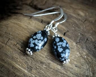 Snowflake Obsidian Earrings in .925 Sterling Silver