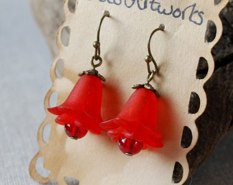 Red Flowers with Crackle Glass Dangle Earrings