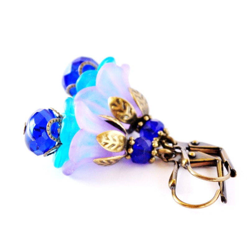 Cobalt and Purple Layered Flower Earrings image 0