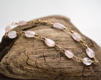 Rose Quartz and Gold-Fill Hand Linked Bracelet