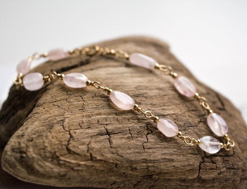 Rose Quartz and Gold-Fill Hand Linked Bracelet image 0