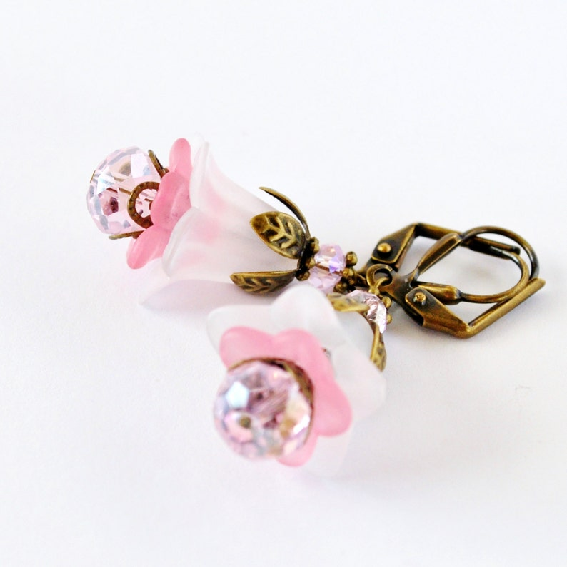 Frosty Pink Layered Flower Earrings image 0