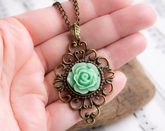Vintage Styled Floral Filigree Necklace in Antiqued Bronze with Beautiful Seafoam Blue-Green Rose Resin  Cabochon and 18.5 inch Curb Chain