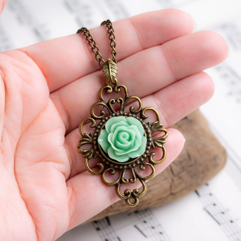 Vintage Styled Floral Filigree Necklace in Antiqued Bronze image 0