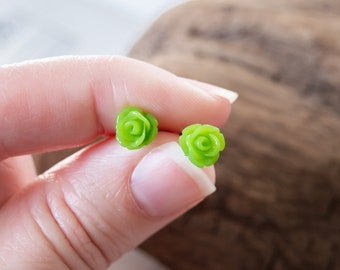 Tiny Spring Green Rose Stud Earrings on Stainless Steel, Minimalist Post Earrings, 7.5mm Flower, Handmade Jewelry for Yourself or Gift