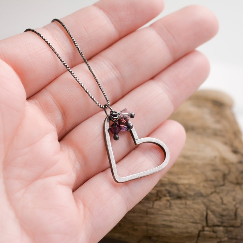 Charming Heart Necklace Handmade Sterling Silver Pendant with image 0